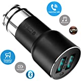 ROIDMI 2S International Version Wireless 5-in-1 Smart In-Car: Bluetooth Music Player - FM Transmitter - USB (2) Car Charger - Handsfree Speakerphone - GPS Nav Audio + APP Settings Control (Black)