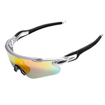 Sports Lunettes de soleil Lunettes de cyclisme avec 3verres interchangeables Lunettes de sports de plein air, jaune