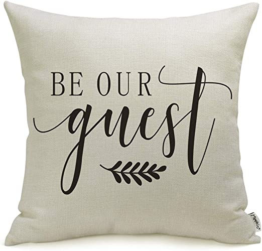 Amazon Com Meekio Farmhouse Pillow Covers With Be Our Guest 18 X
