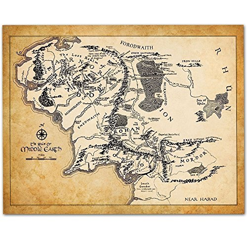 Map of Middle Earth - 11x14 Unframed Art Print - Great Gift for Lord of the Ring and Hobbit Fans by Personalized Signs by Lone Star Art