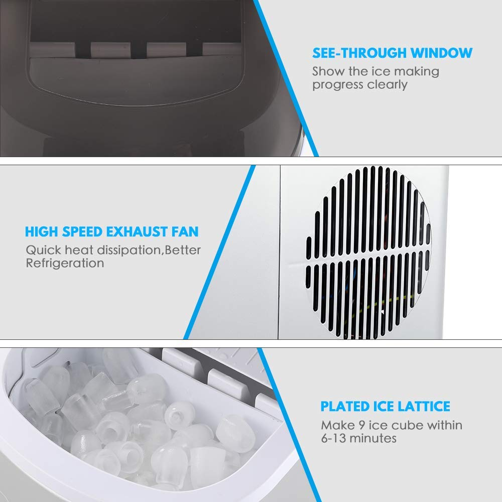 9 Ice Cubes Ready in 7-15 Minutes Colzer Electronic ice maker Portable Countertop Ice Maker Machine For Home Bar Kitchen 1.8 liter Water Tank and Ice Scoop 26lbs Ice per 24 hours