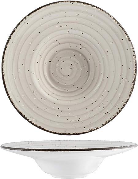 H&H 812392 Giotto - Plato de pasta, cerámica, gris, 24,5 cm ...