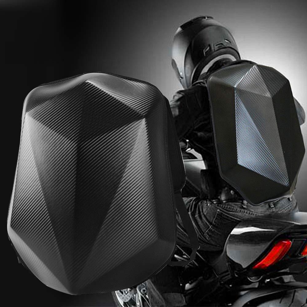 YOCTM Hard Shell Motorcycle Backpack Helmet Bags Motorsports Track Riding Back Pack Stealth No Drag Black Carbon Fiber Look Molded