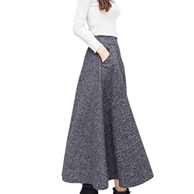 042d4c948ce 2017 2018 Woolen Autumn Winter Plus Size A Line Midi Wool Skirt Faldas Mujer  Women High Waist Long Maxi Tutu Pleated Skirt