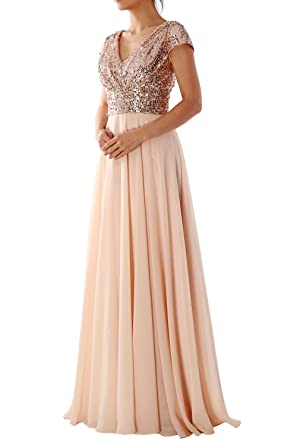 Macloth cap sleeve v neck sequin chiffon bridesmaid dress formal macloth cap sleeve v neck sequin chiffon bridesmaid dress formal evening gown 0 rose junglespirit Image collections