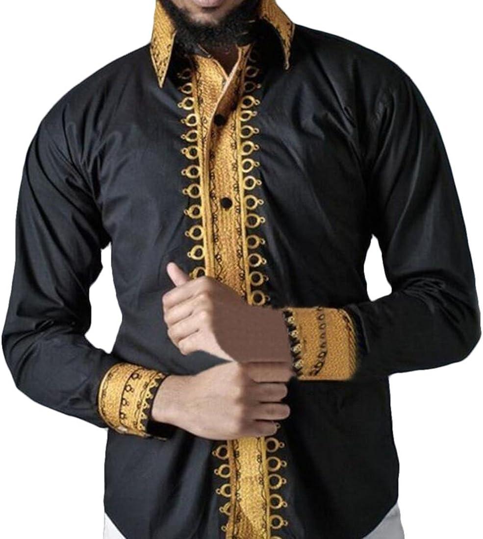 JXG Men Long Sleeve Dashiki Button Down Slim Fit African Printed Dress Shirt