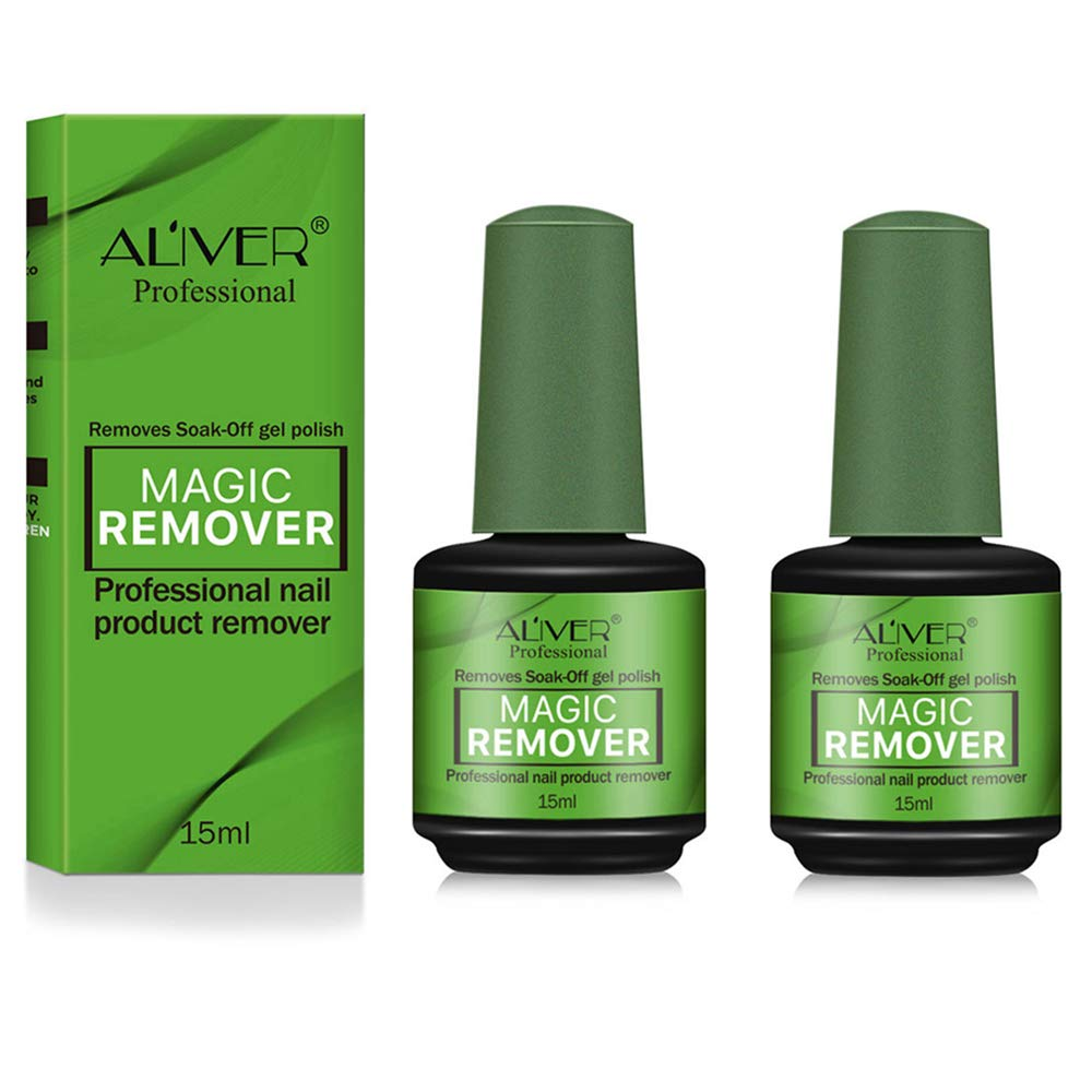 2Pack Magic Nail Polish Remover, Professional Easily & Quickly Removes Soak-Off Gel Nail Polish in 3-5 Minutes, Don't Hurt Nails : Beauty