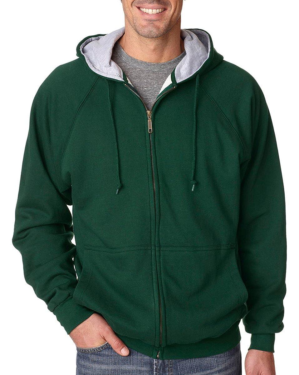 UltraClub Adult Thermal-Lined Full-Zip Hooded Fleece