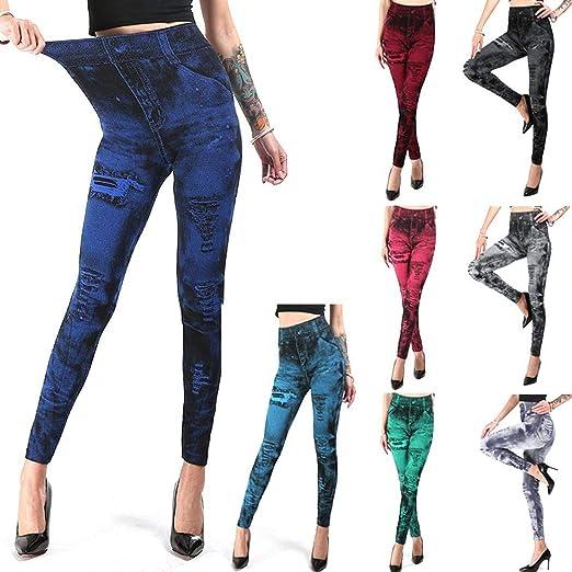 Women/'s Stretchy Leggings Tight Pants Fake Rip Jeans Prints