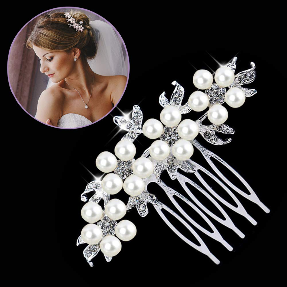 Gutian Women's Fashion Flower Design Crystal Simulated Pearl Bride Comb Jewelry Bridal Hair Headpiece Wedding Accessories