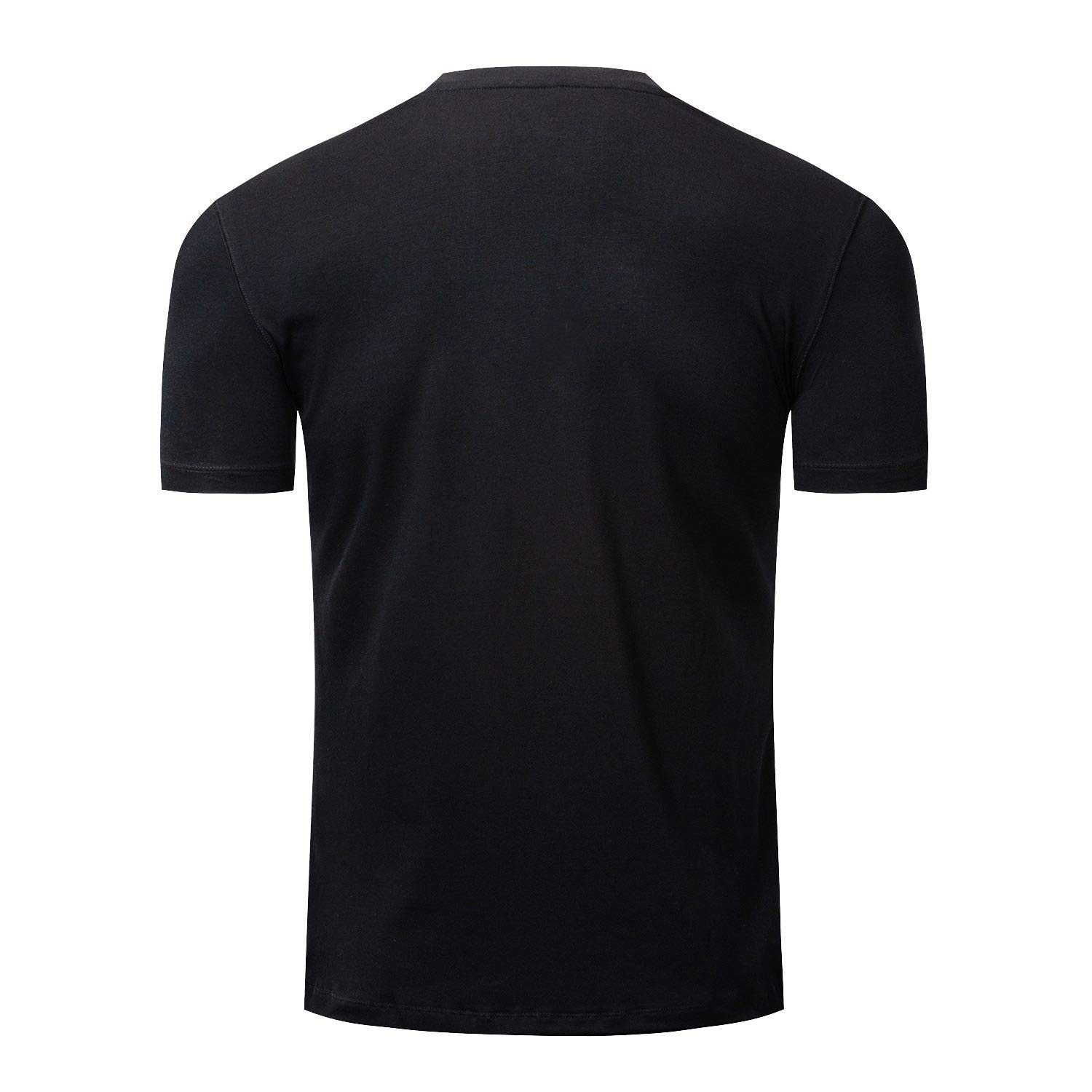 Mfasica Men Plus Size V Neck Leisure Solid-Colored Basic Pullover Tshirt Top