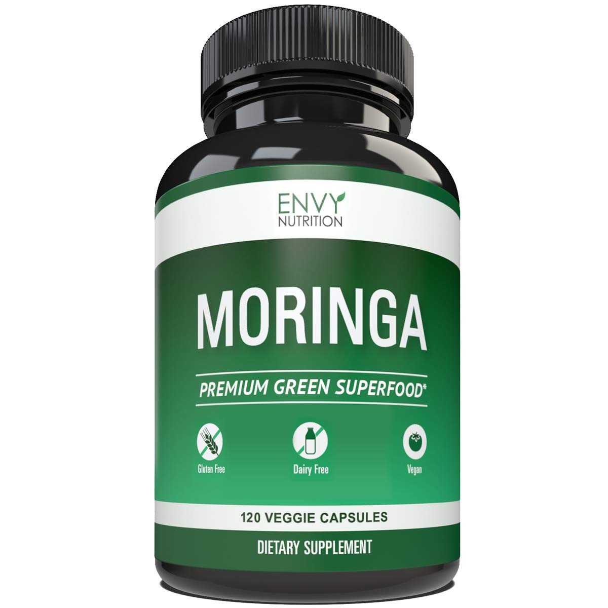 Pure Moringa Oleifera Capsules from Envy Nutrition – All Natural Gluten Free Moringa Leaf Powder Capsules – Turbocharge Your Metabolism and Energy Levels – Vegan Supplement for Mood and Memory - 60 Count
