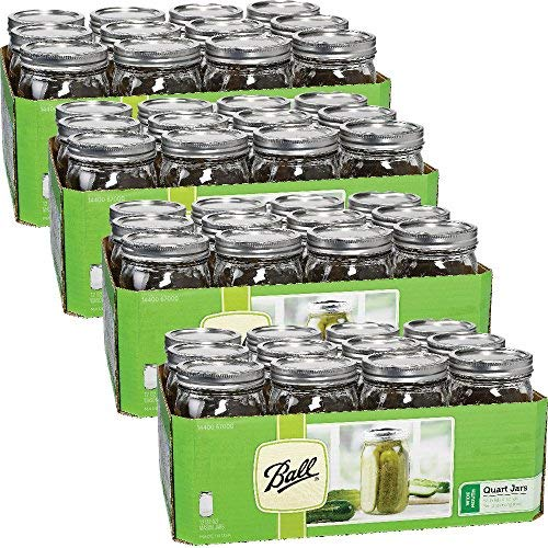 1 Quart Mason Jars - Ball Wide Mouth Quart (32 oz) Jars with Lids and Bands (4 Pack of 12)