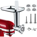Metal Food Grinder Attachment for KitchenAid Stand Mixer Included 3 Sausage Stuffer Tubes Accessory, Upgrade Design with…