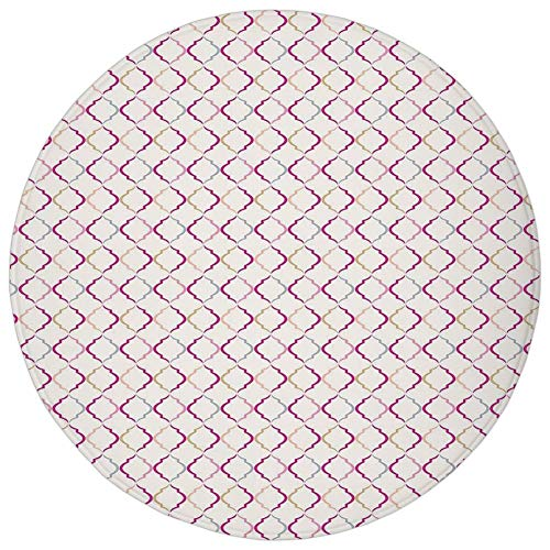 Round Rug Mat Carpet,Trellis,Victorian Ancient Oval Shapes Retro Antique Traditional Vintage Style Pattern Print,Multicolor,Flannel Microfiber Non-slip Soft Absorbent,for Kitchen Floor Bathroom ()