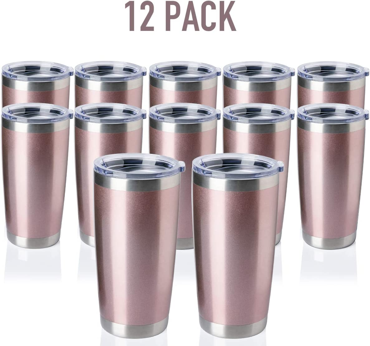 TDYDDYU 12 pack 20 OZ Double Wall Stainless Steel Vacuum Insulated Tumbler Coffee Travel Mug With Lid, Durable Powder Coated Insulated Coffee Cup for Cold & Hot Drinks (Rose Gold, 12 pack)