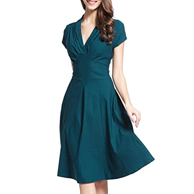 c9809b6719 Ouxiuli Women s Vintage Retro Ball Gown 1940s Flared Dress Swing Skaters M  Green