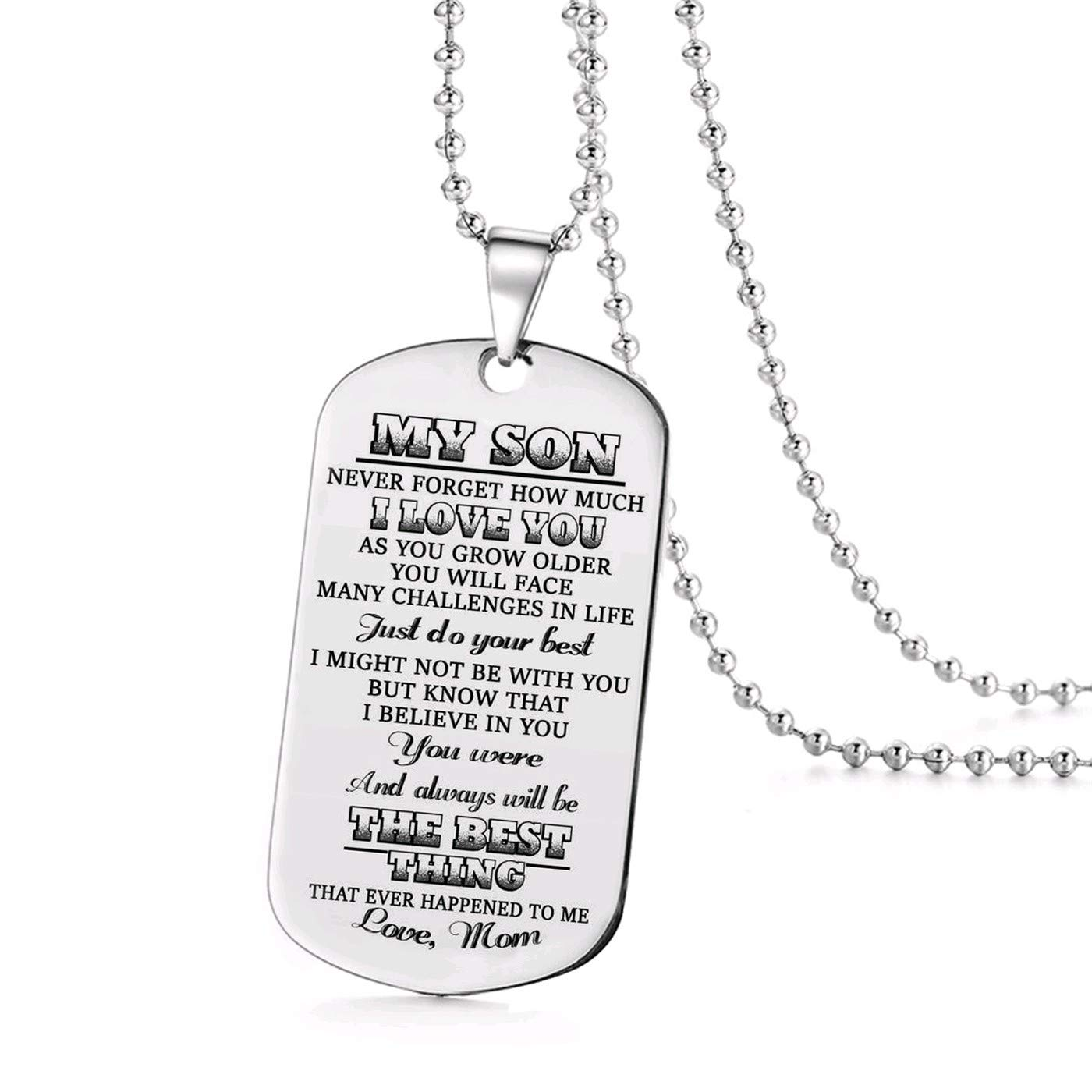 Jvvsci Dad Mom to Son Dog Tag I Want You to Believe Deep in Your Heart Inspirational Message Pendant Necklace Birthday Jewelry Gift for Boys Teen mom to Son