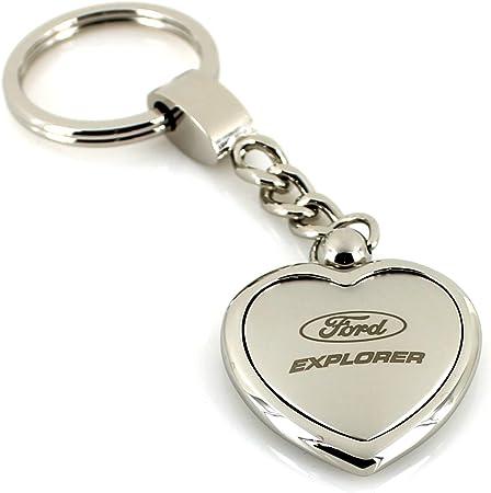 Ford Explorer Satin Chrom Zwei Ton Herz Form Schlüsselanhänger Auto