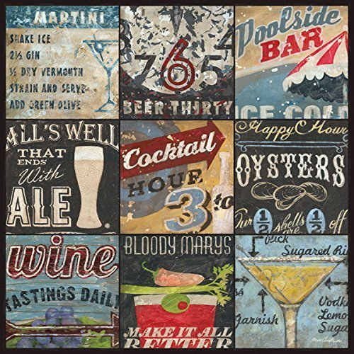Happy Hour Cocktail and Alcohol Bar Art by Aaron Christensen - Stretched Canvas Reproduction- Artist Direct, Authentic 18 x 18 x 1.5 - additional sizes listed. Made in my Portland, -