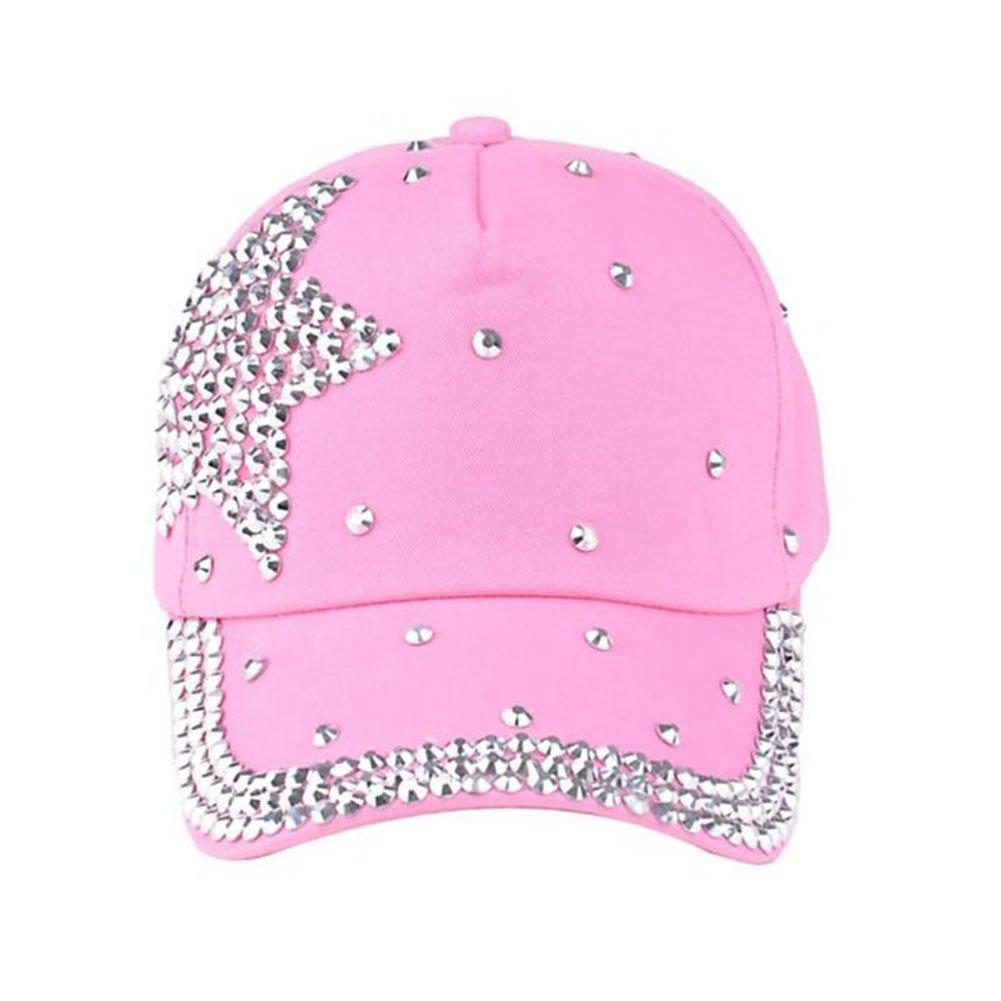 Funbase Children Outdoor Sports Star Shaped Bling Baseball Hiking Cap Pink
