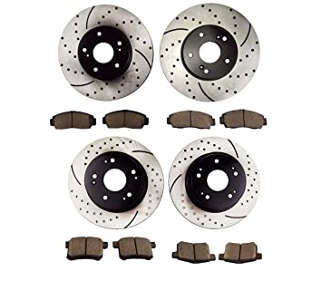 Front and Rear Ceramic Disc Brake Pads For 2008-2010 Honda Accord Performan 8pcs