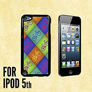 Colorful Bycicle Pattern Custom made Case/Cover/skin FOR iPod 5/5th Generation -Black- Plastic Snap On Case (Ship From CA)