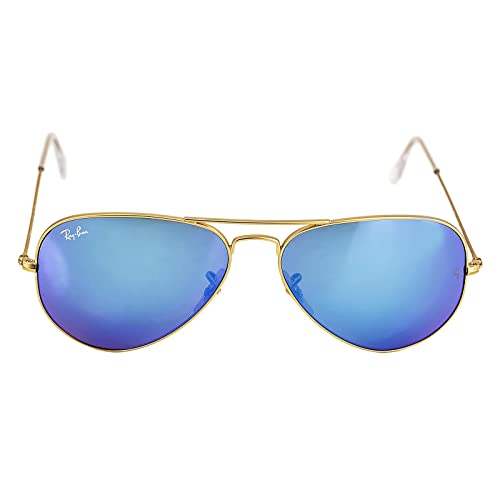 Ray-Ban Aviator Large Metal Sunglasses RB3025- Matte Gold Frame, Crystal  Blue Mirror 0c104cf77fbe