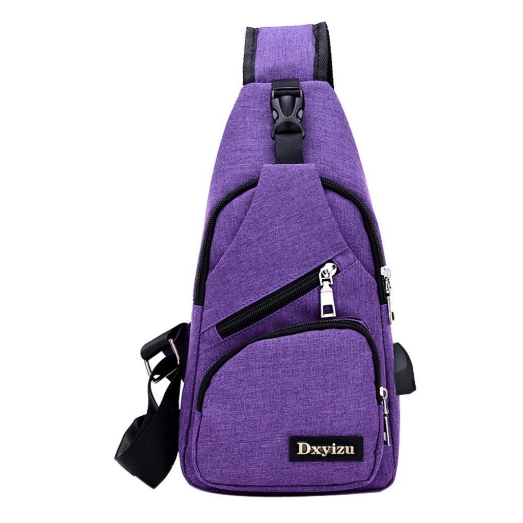 Bolayu Fashion Men USB Outdoor Sports Casual Canvas Unbalance Backpack Crossbody Sling Shoulder Bag (purple)