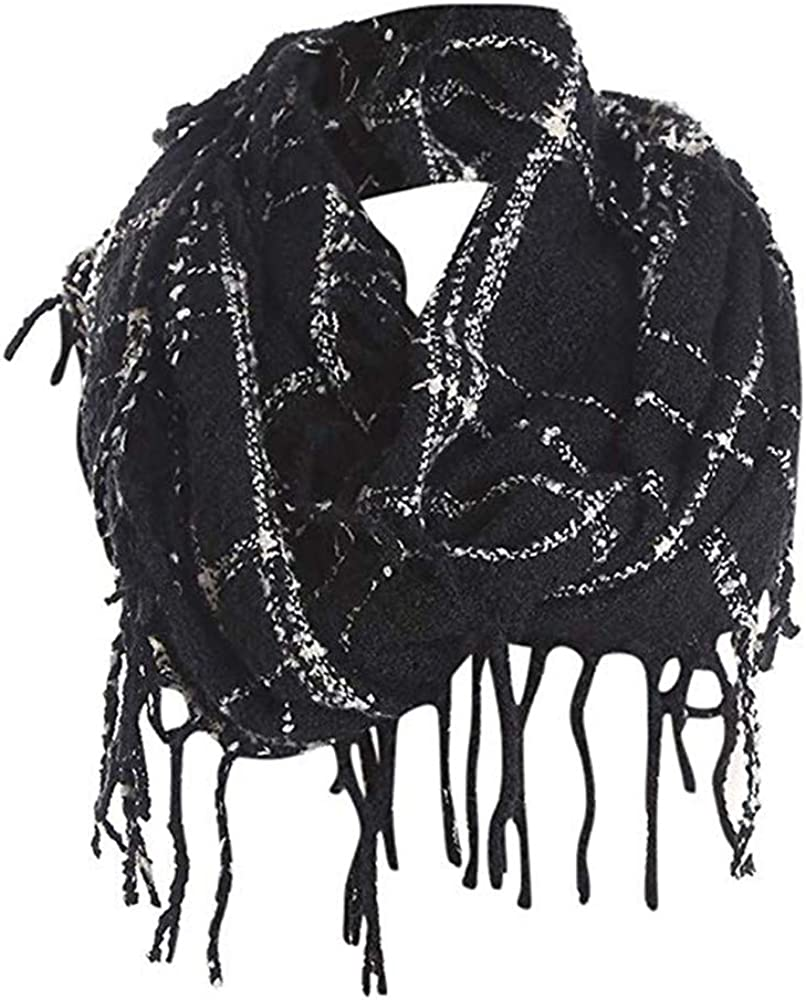 Women Pashmina Infinity Scarf Lightweight Warm Plaid Loop Neck Wrap With Fringes