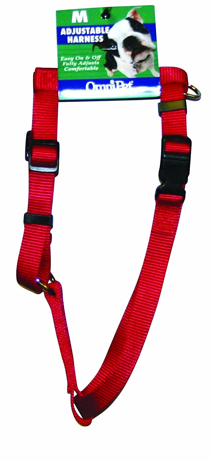 Red Medium Red Medium OmniPet 17M-RD Kwik Klip Adjustable Nylon Pet Harness, Medium, Red