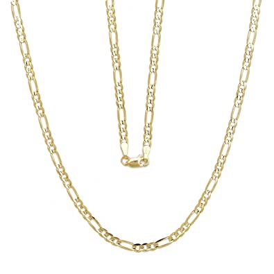 Amazon.com  24 Inch 10k Yellow Gold Solid Italian Figaro Link Chain Necklace  for Women and Girls (4mm)  Jewelry 6bbdb0b709