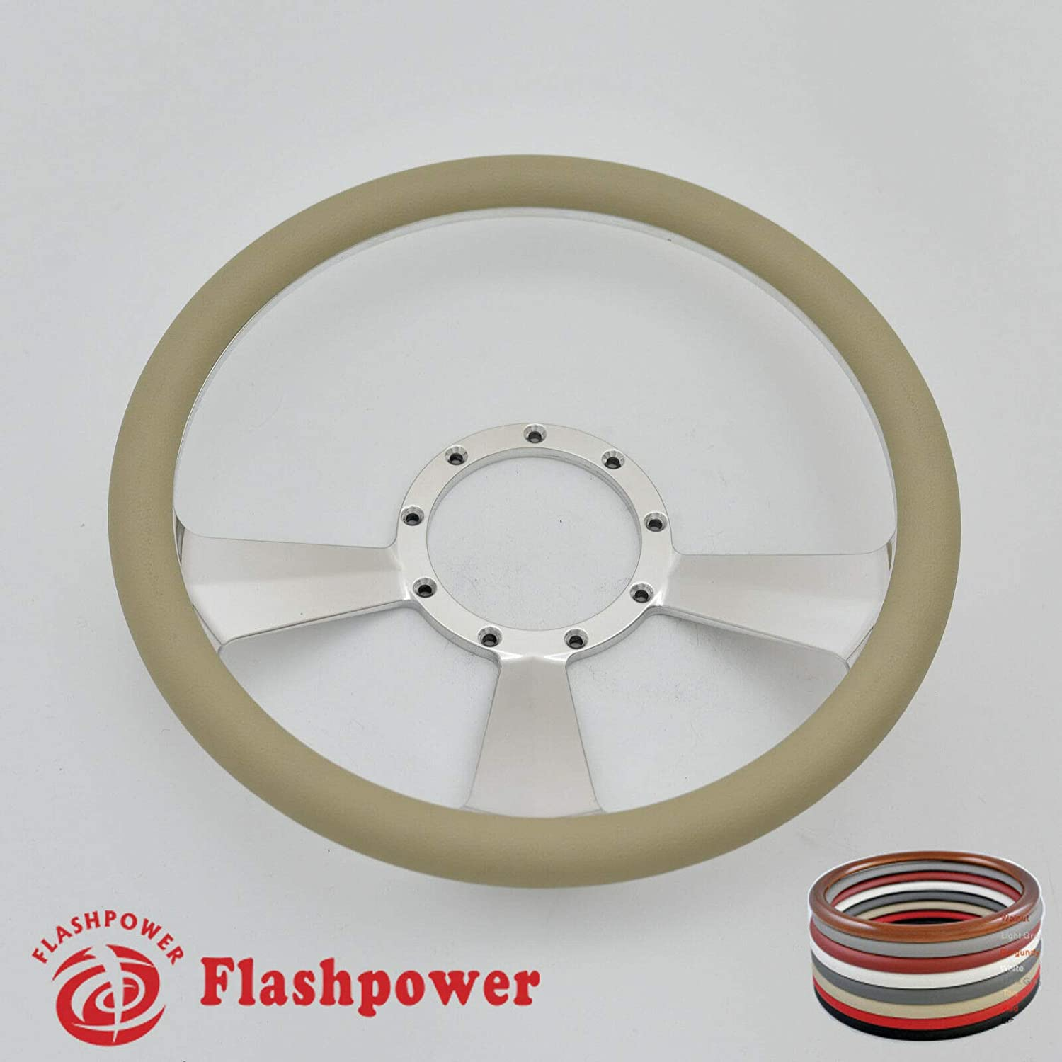 Flashpower 14 Billet Half Wrap 9 Bolts Steering Wheel with 2 Dish and Horn Button Tan