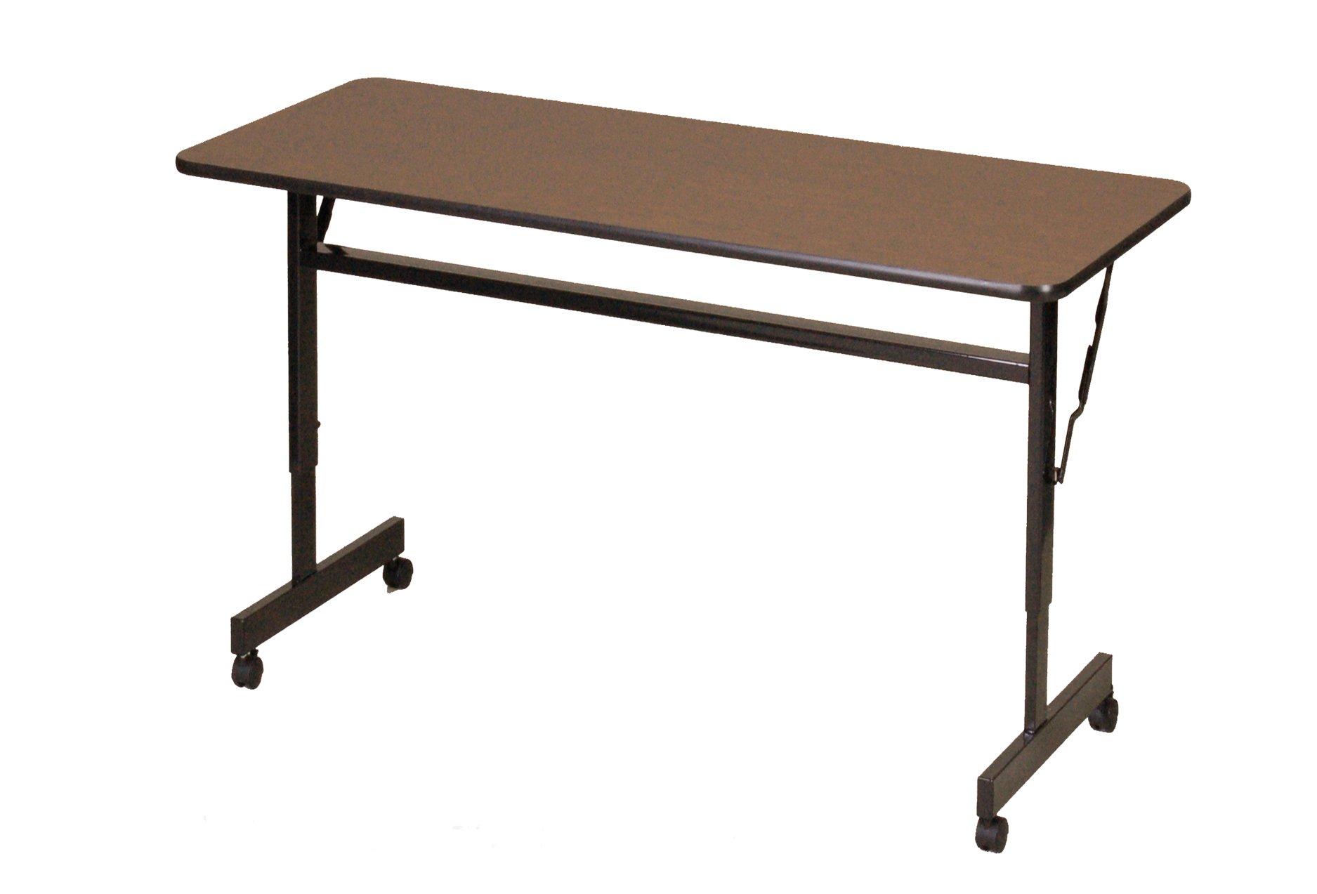 Correll FT2448M-01 EconoLine Flip Top Table, 24'' x 48'', Adjustable Height, Walnut Melamine Top, Rectangle, Seats 2