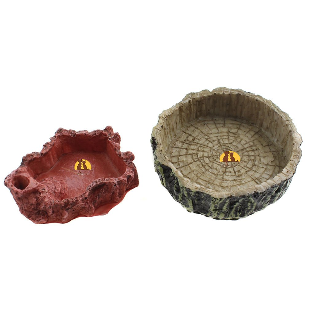 Emours Rock Food Water Dish Tray Bowl for Amphibians Reptile Tortoise Snake Lizard Gecko Spider Frog, Combo Set Pet accessories