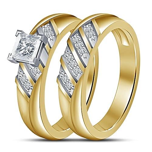 Fashion corte princesa Vorra ideal para Pedida de mano juego de anillos de boda en 14 K 925 Chapado en oro plateado: Amazon.es: Joyería