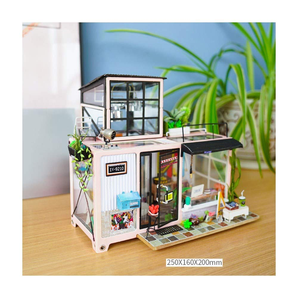 B Sunta 3D threedimensional puzzle mini diy hut creative handmade wooden model house Arts Creative Gifts,A
