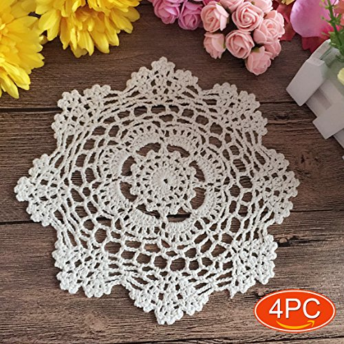 - Elesa Miracle 7 Inch 4pc Handmade Round Crochet Cotton Lace Table Placemats Doilies Value Pack, Vintage, White (4pc-7 Inch White)
