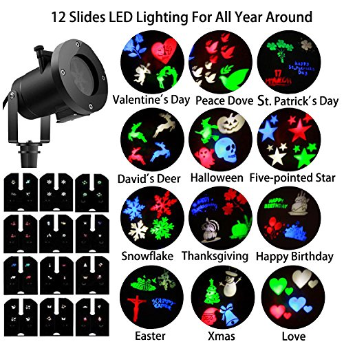 YOUNGBEST Holiday Landscape Projector Lights 12 Slides Pattern Waterproof IP65 LED Projector Lamp Sparkling Snowflake for Christmas Halloween Decoration (Multicolor) -