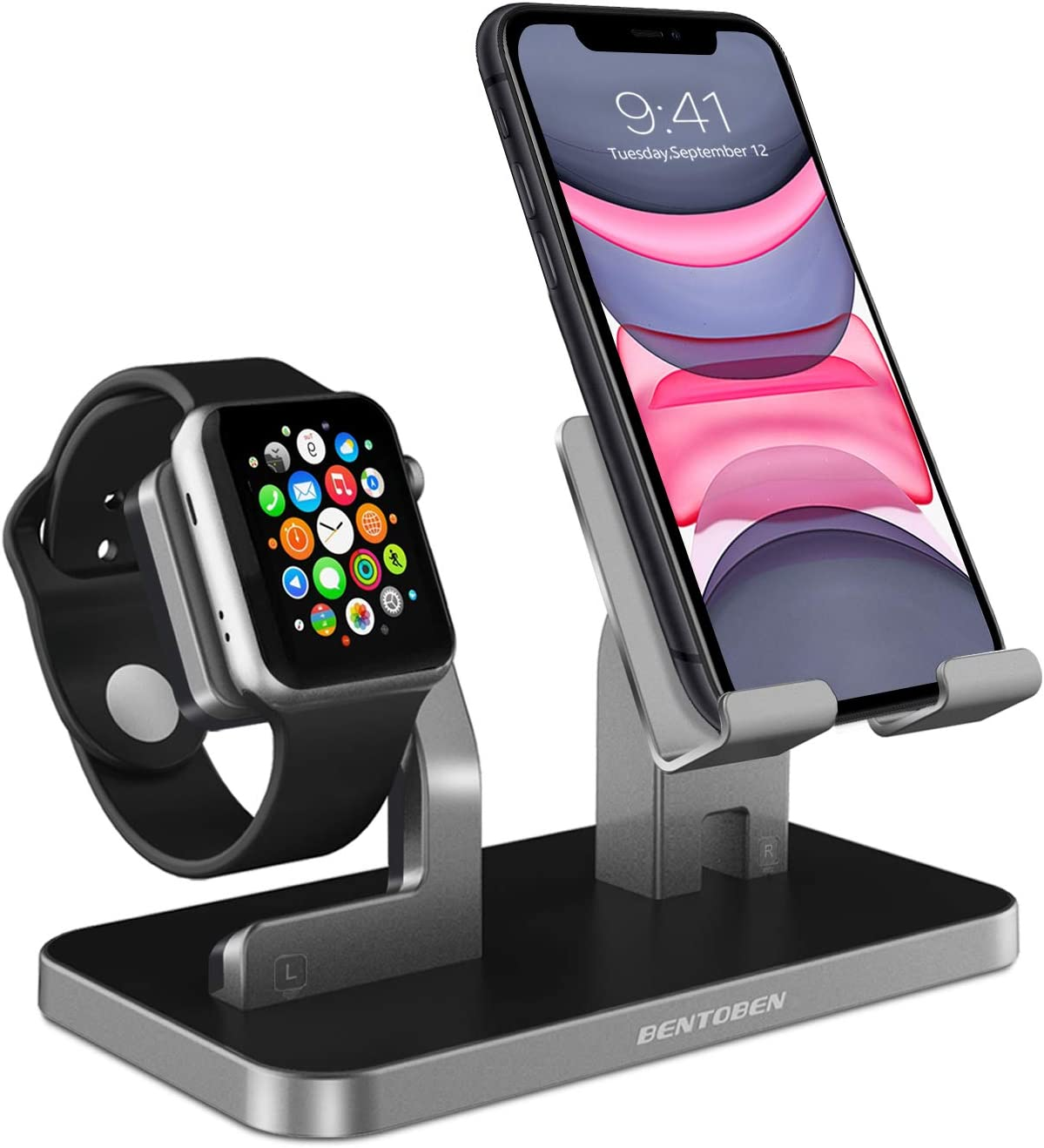 BENTOBEN Cell Phone Stand Compatible with Apple Watch Universal Desktop Stand Holder for iWatch Series 5/4/3/2/1 iPhone 11 Pro Max XS XR X 8 7 6S 6 Plus, Space Gray