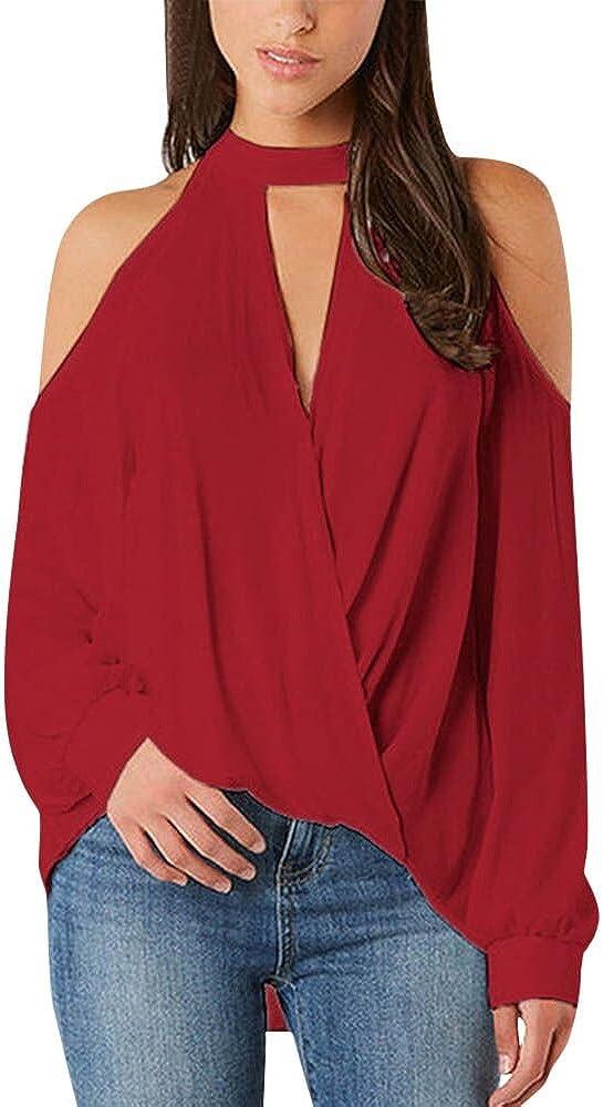 2019 Women Winter Cold Shoulder Long Sleeve Choker Neck Pullover Tops Blouse by-NEWONESUN