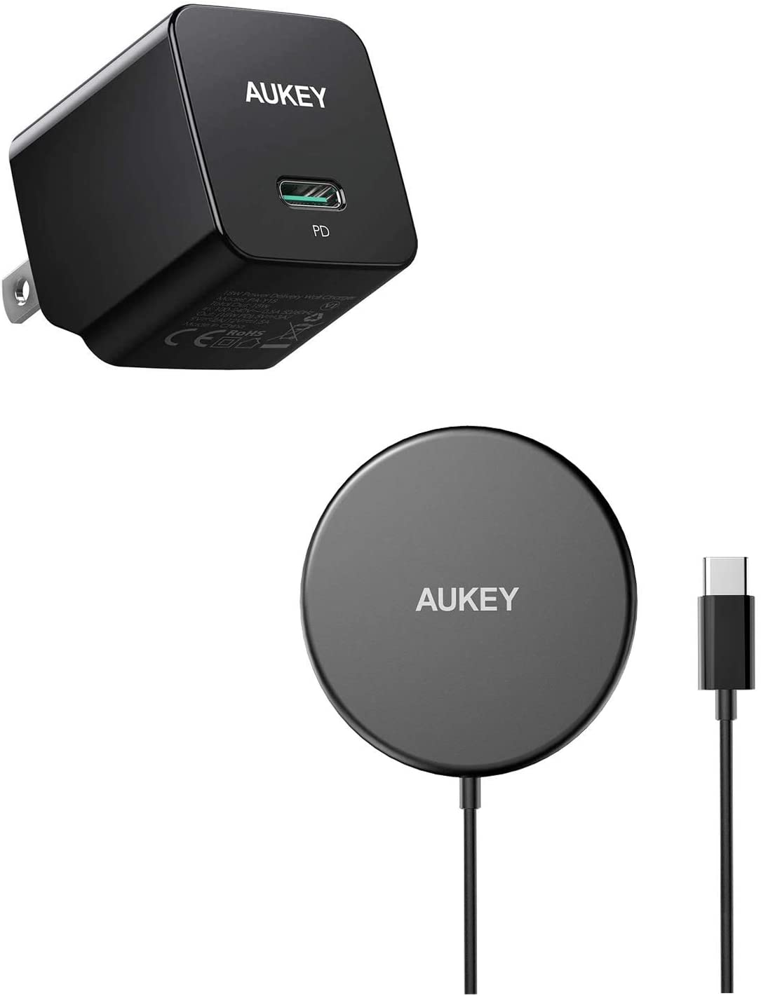 AUKEY Minima 20W iPhone Charger & AUKEY Aircore Magnetic Wireless Charger 15W Max for iPhone 12/12 Pro,Pixel, Samsung