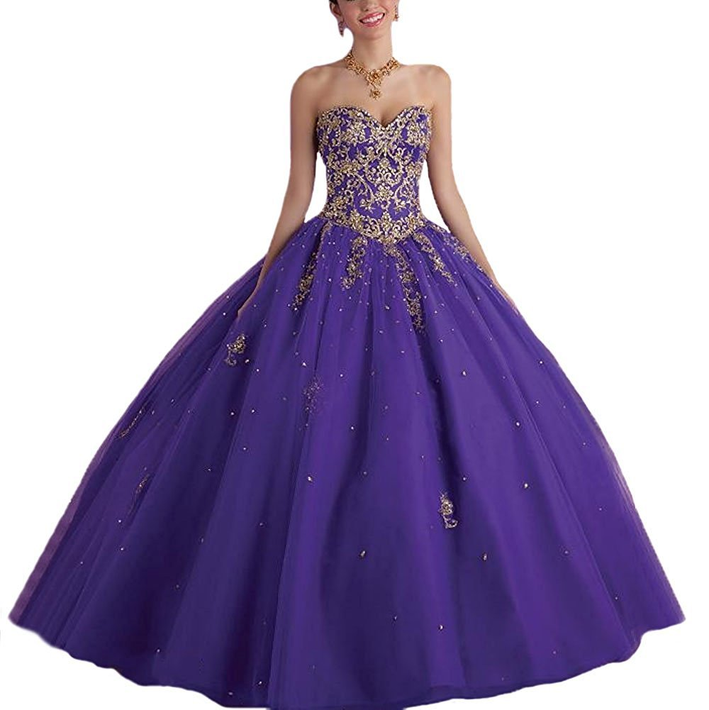Vnaix Bridals Lace with Tulle Gold Red Sweet 16 Prom Quinceanera Dress