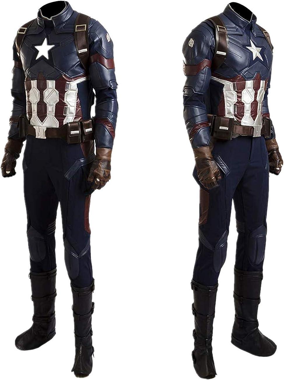 Superhero Captain Soldier Costume Deluxe Halloween Cosplay Full Set PU Suit