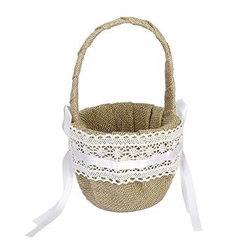 cesta de boda para muchacha cesta de arpillera adornada con cinta encaje de decoracin de boda