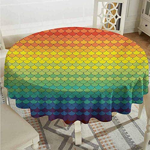 XXANS Tablecloth for Kids/Childrens,Fiesta,Colorful Scale Pattern Snake and Dragon Skin Abstract Composition Rainbow Inspired,Table Cover for Home Restaurant,63 INCH,Multicolor