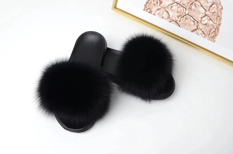 Real Fur Sandals Fluffy Pompoms Flip Flops Women Genuine outside slip on sandals Black
