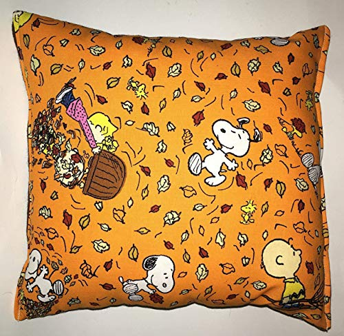 Snoopy Pillow Peanuts Leaves Pillow 10 inches by 11 inches Handmade Hypoallergenic Cotton with Flannel Backing Ideal for Gift and Multiple Uses Fall Harvest