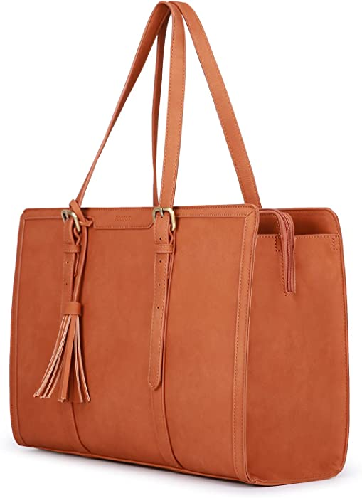 The Best Cognac Leather Laptop Tote