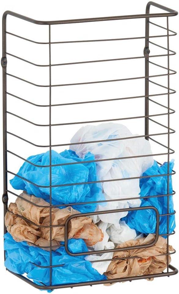 mDesign Organizador de bolsas de plástico – Dispensador de bolsas plásticas de acero para colgar en la pared – Soporte guarda bolsas para almacenar hasta 50 bolsas plásticas – color bronce